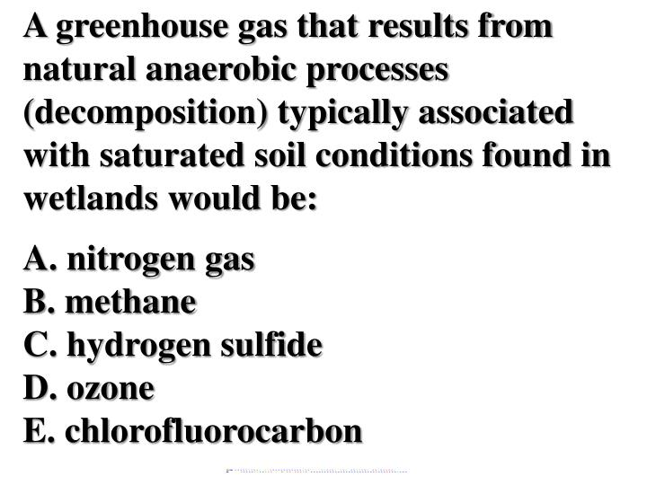 A greenhouse gas that results from natural anaerobic processes (decomposition) typically associated with saturated soil conditions found in wetlands would be: