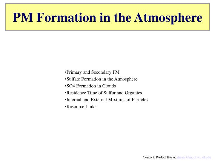 PM Formation in the Atmosphere