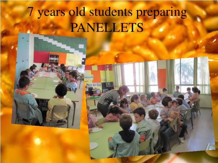 7 years old students preparing PANELLETS