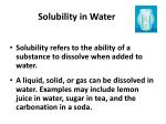 solubility in water