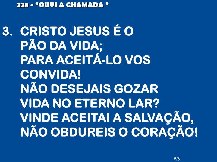 """228 - """"OUVI A CHAMADA"""