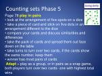 counting sets phase 5
