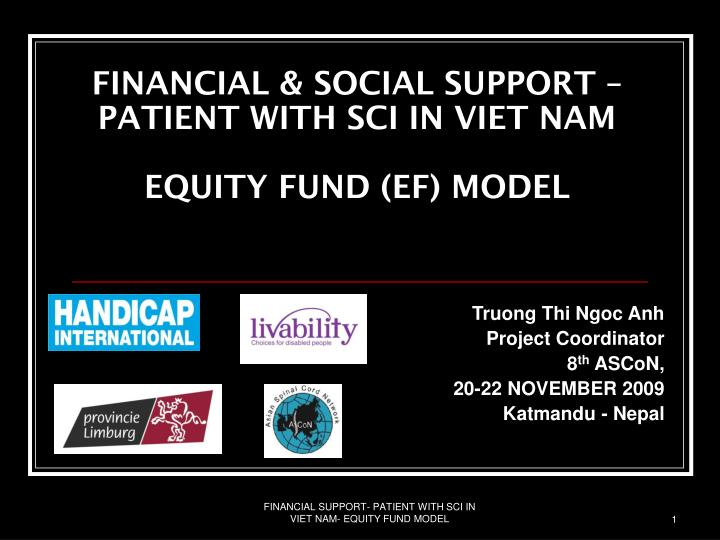 Financial social support patient with sci in viet nam equity fund ef model