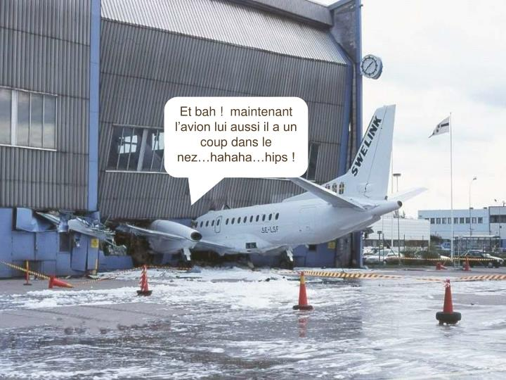 Et bah !  maintenant l'avion lui aussi il a un coup dans le nez…hahaha…hips !