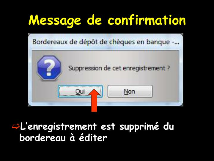Message de confirmation