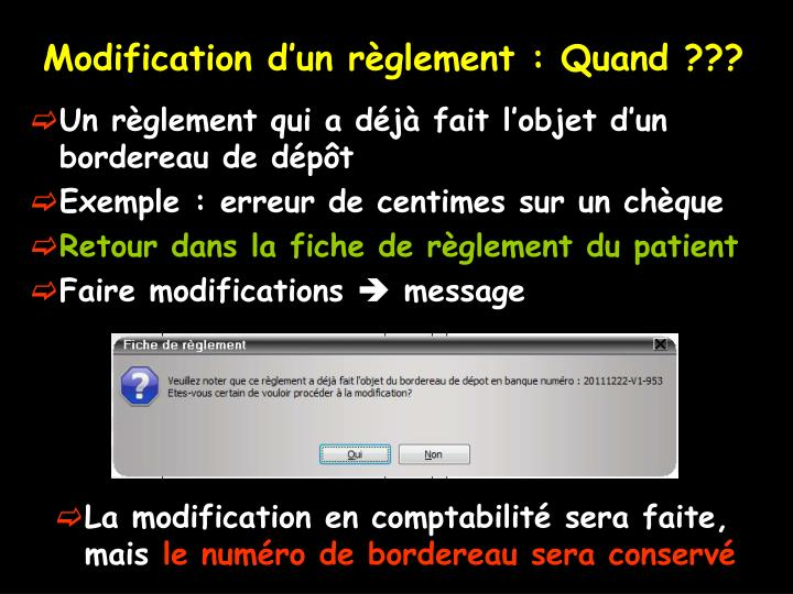 Modification d'un règlement : Quand ???