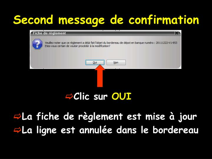 Second message de confirmation