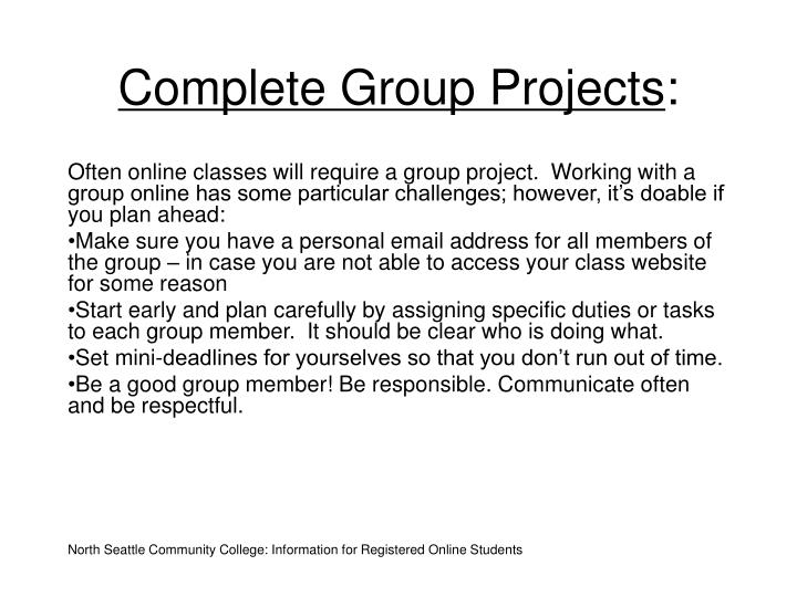 Complete Group Projects