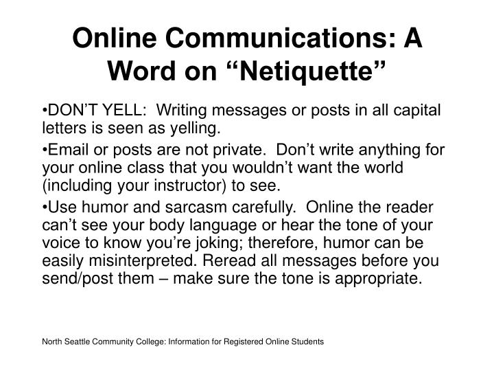 "Online Communications: A Word on ""Netiquette"""