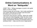 online communications a word on netiquette