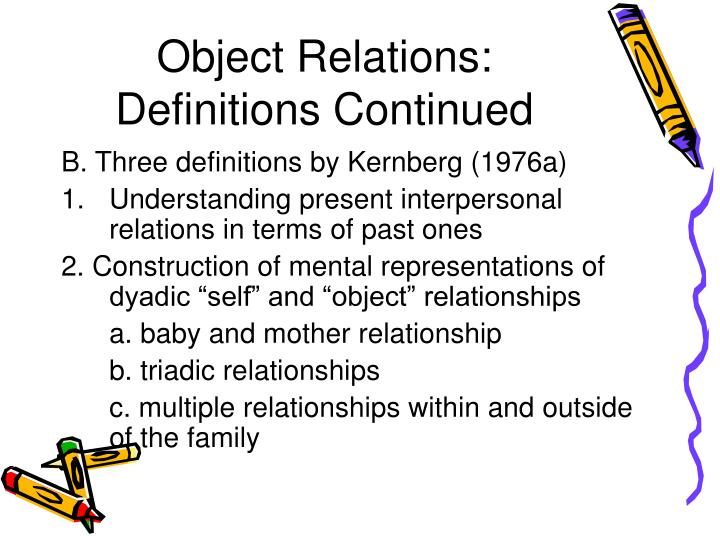 Object Relations: Definitions Continued