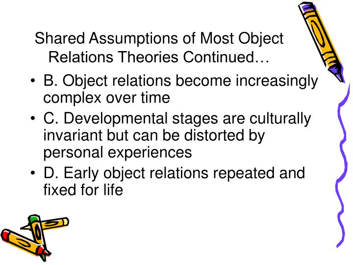 Shared Assumptions of Most Object Relations Theories Continued…