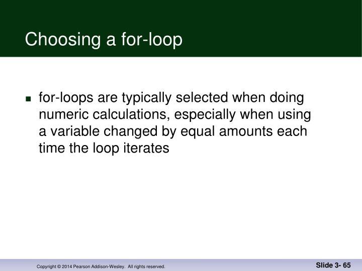 Choosing a for-loop