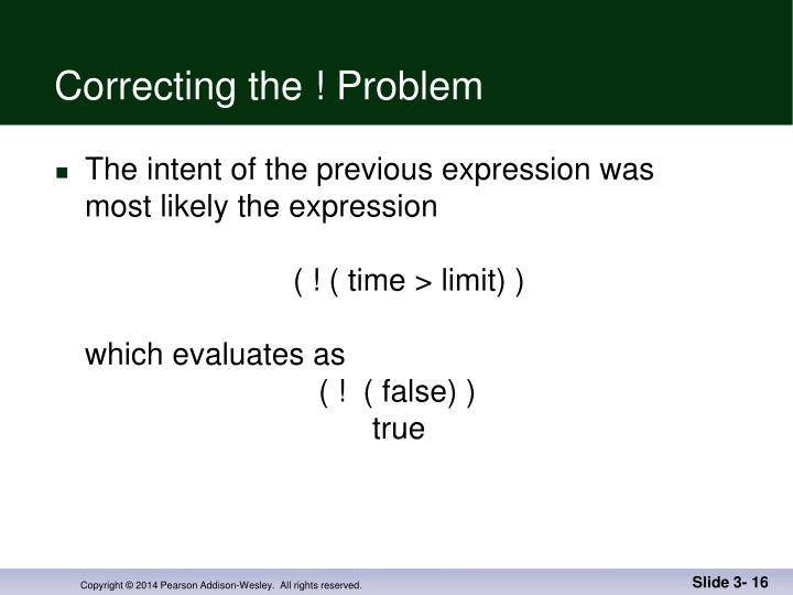 Correcting the ! Problem