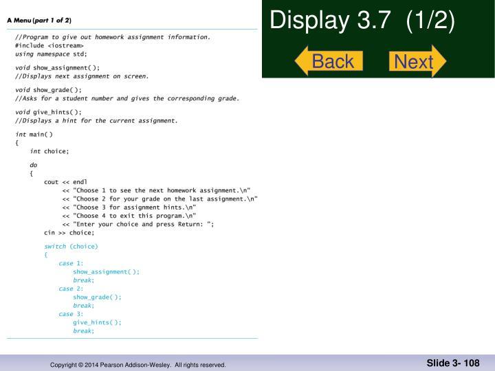 Display 3.7  (1/2)
