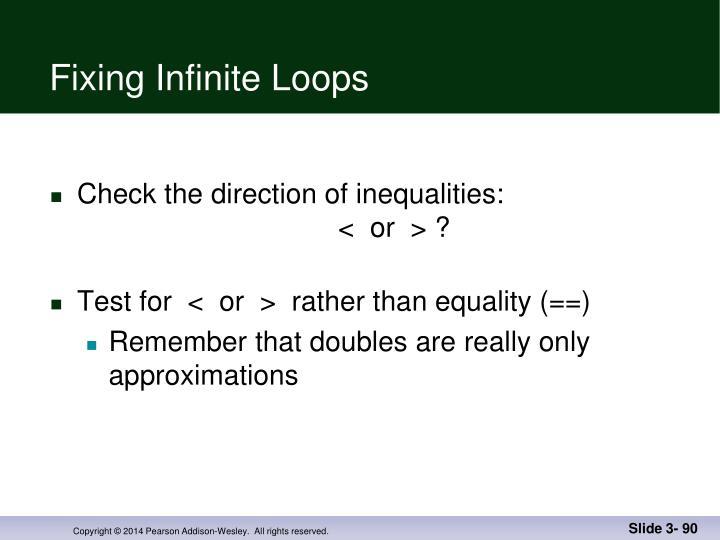 Fixing Infinite Loops