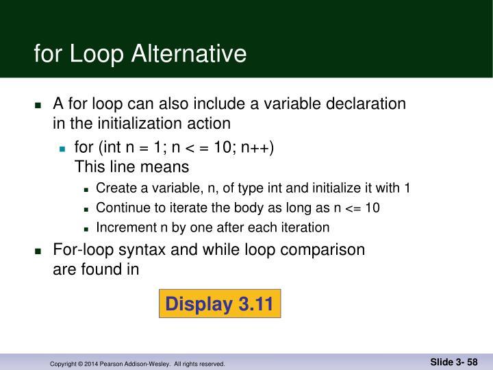 for Loop Alternative