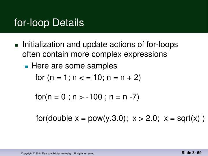 for-loop Details