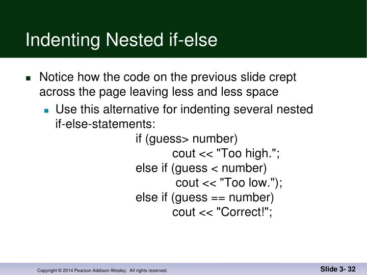 Indenting Nested if-else