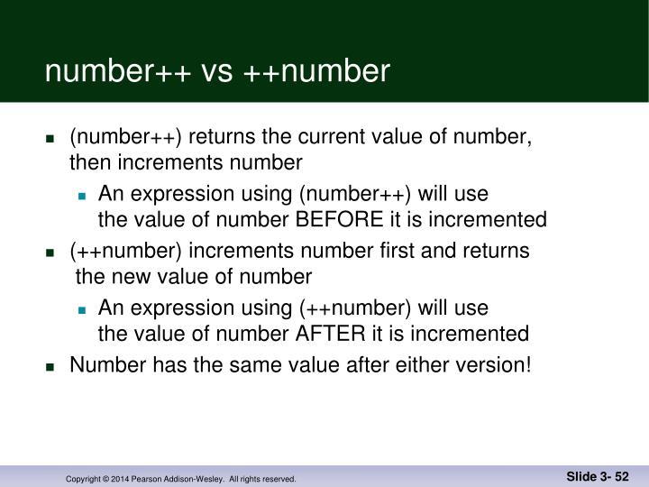 number++ vs ++number