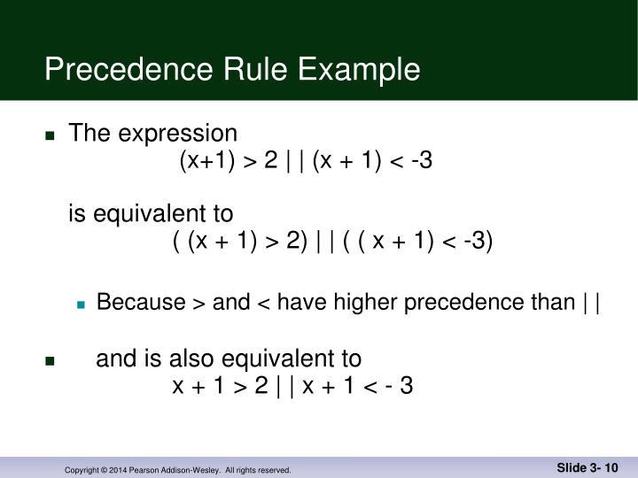 Precedence Rule Example