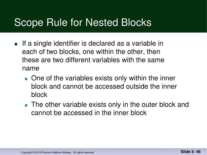 Scope Rule for Nested Blocks