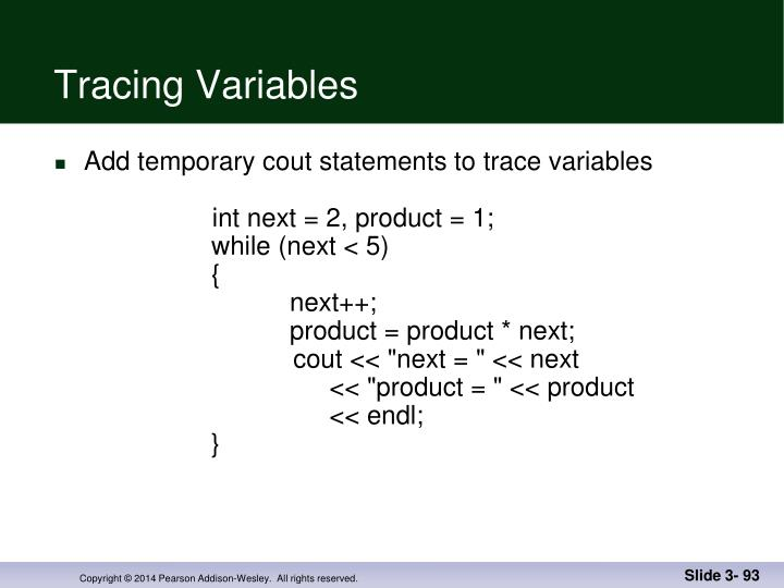 Tracing Variables