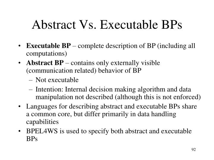 Abstract Vs. Executable BPs