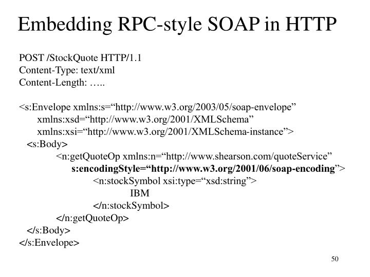 Embedding RPC-style SOAP in HTTP