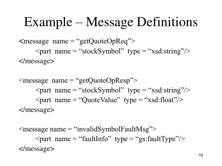 Example – Message Definitions