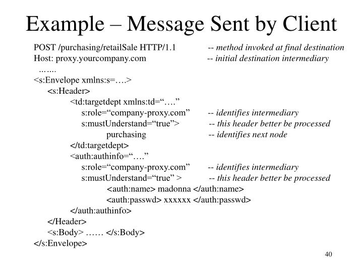 Example – Message Sent by Client