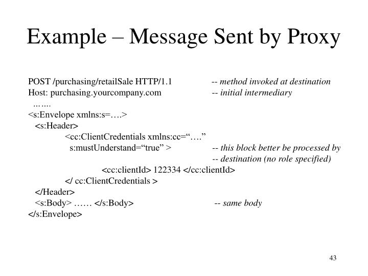 Example – Message Sent by Proxy
