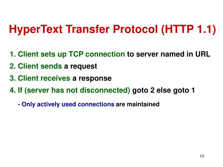 HyperText Transfer Protocol (HTTP 1.1)