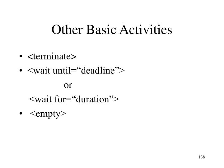 Other Basic Activities