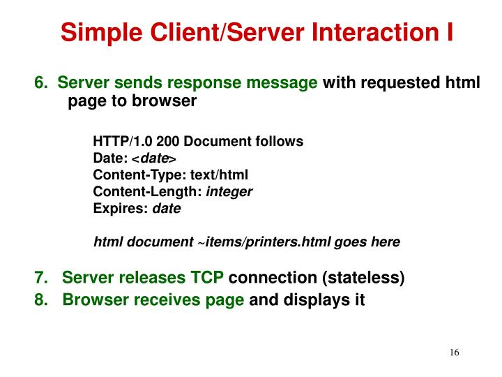 Simple Client/Server Interaction I