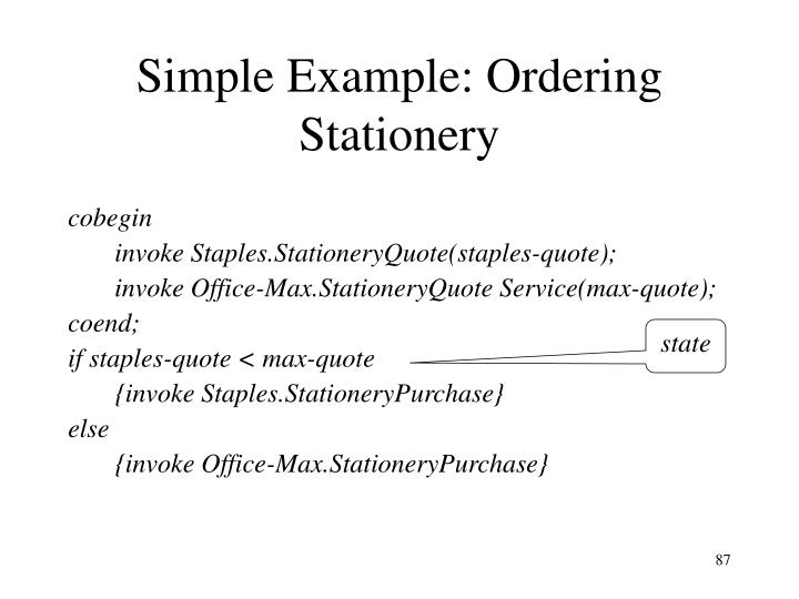 Simple Example: Ordering Stationery