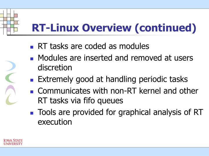 RT-Linux Overview (continued)