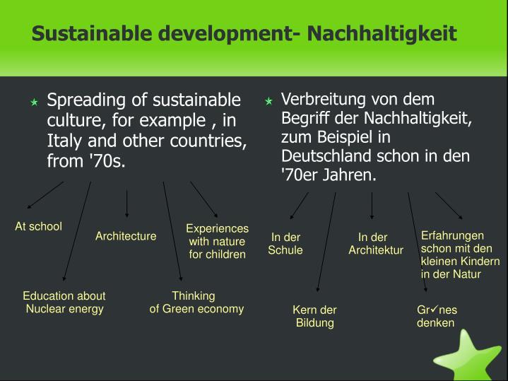 Verbreitung von dem Begriff der Nachhaltigkeit, zum Beispiel in Deutschland schon in den '70er Jahren.