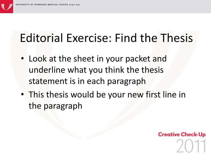 finding the thesis statement activity