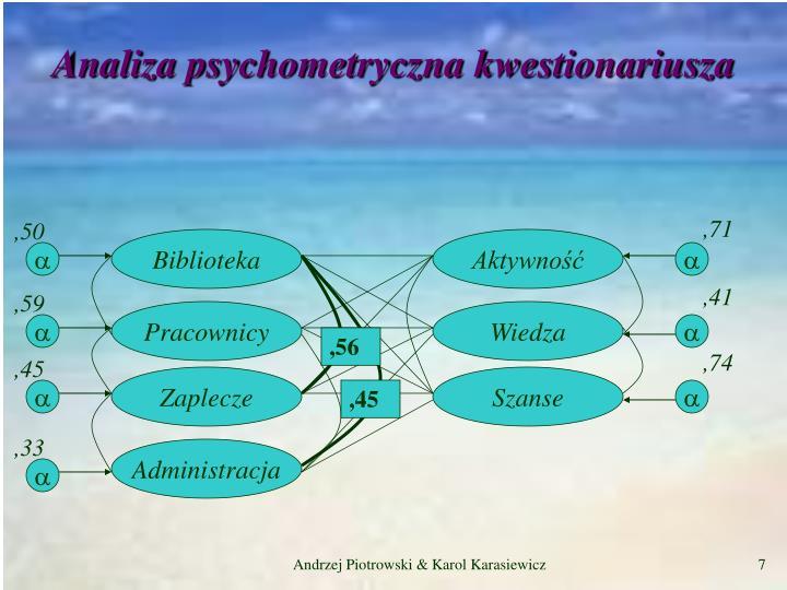 Analiza psychometryczna kwestionariusza
