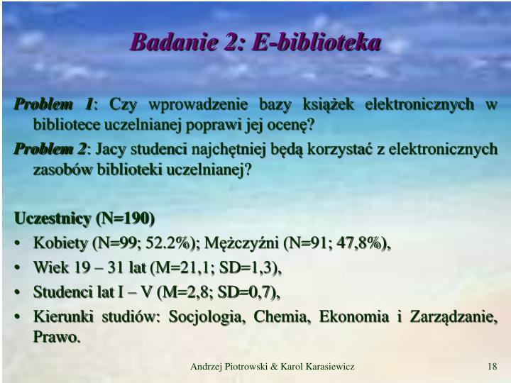 Badanie 2: E-biblioteka