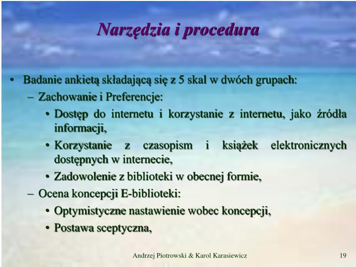 Narzędzia i procedura