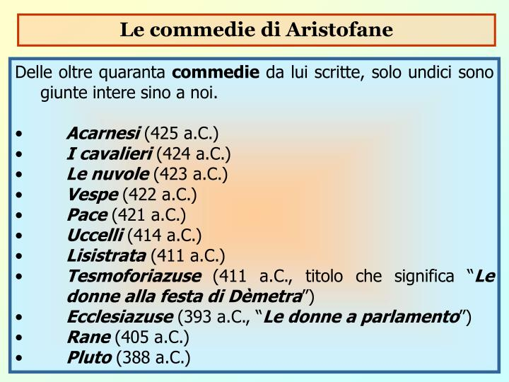 Le commedie di Aristofane