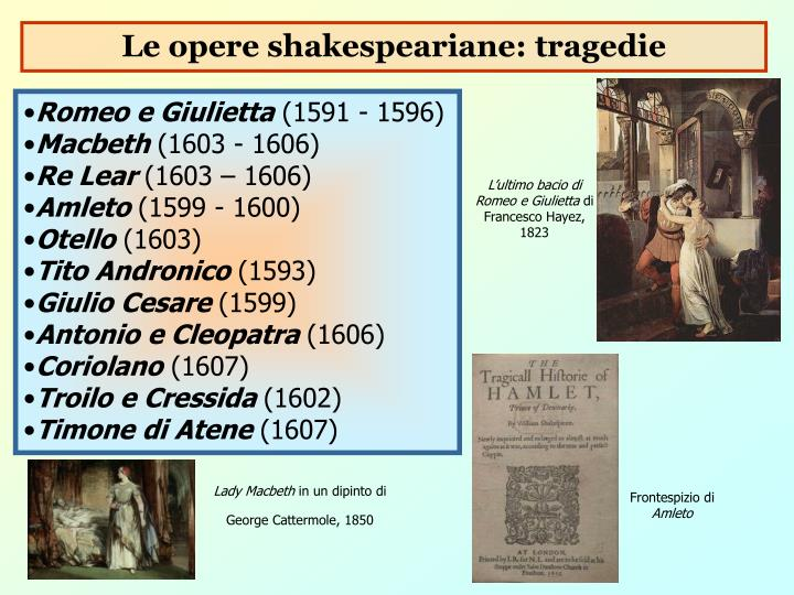 Le opere shakespeariane: tragedie