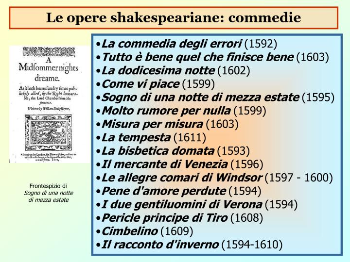 Le opere shakespeariane: commedie