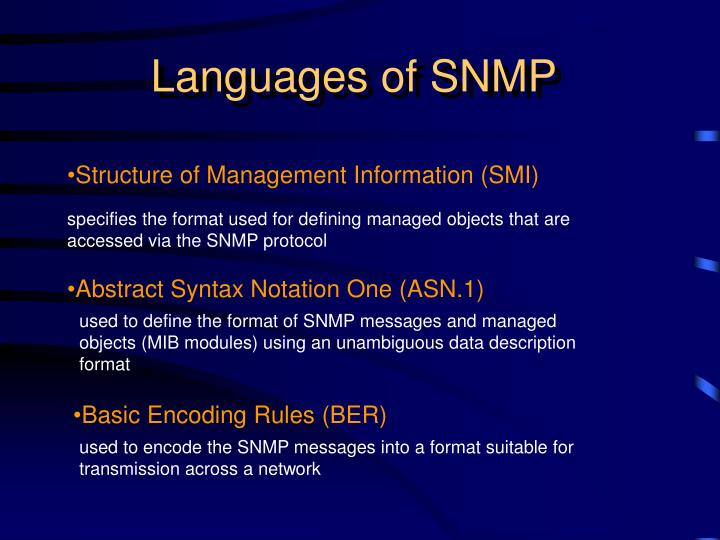 Languages of SNMP