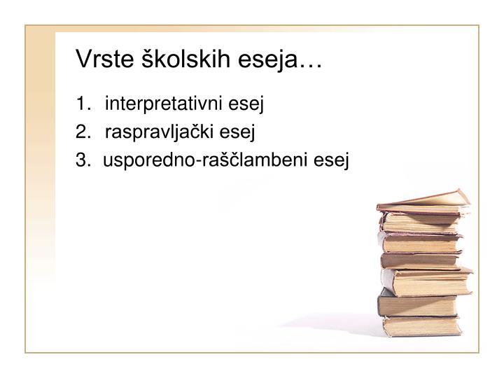 Vrste školskih eseja…