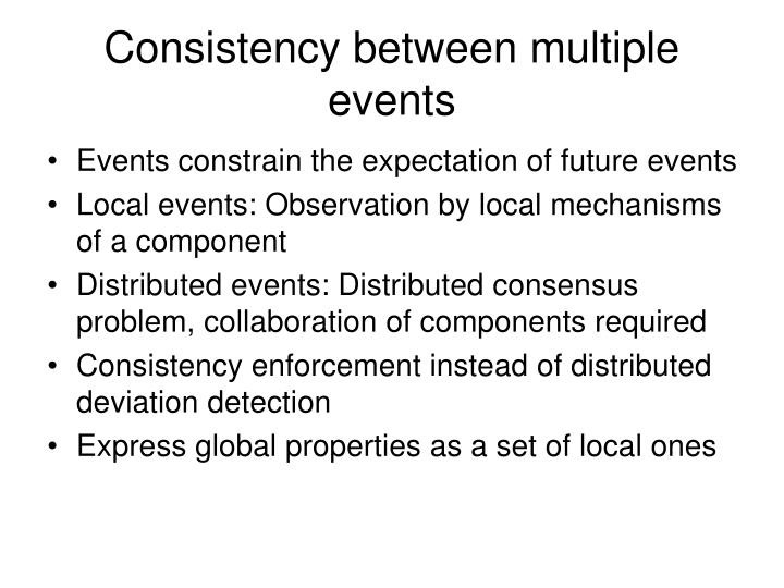 Consistency between multiple events
