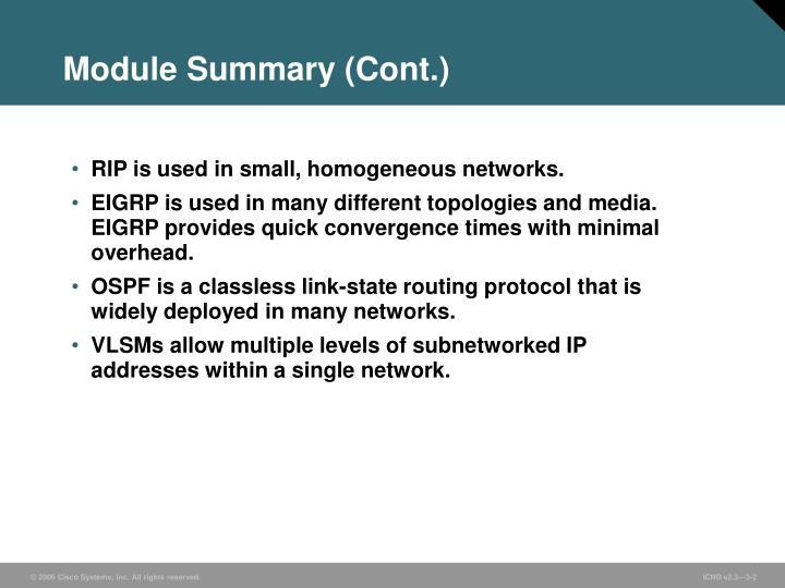 Module Summary (Cont.)