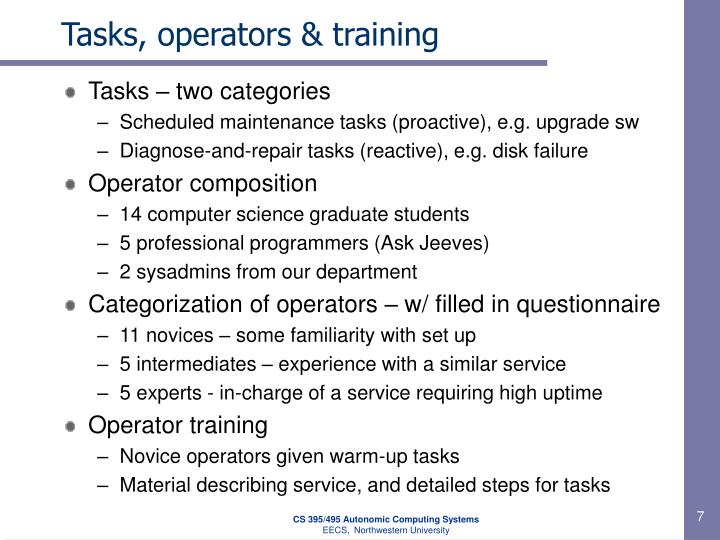 Tasks, operators & training